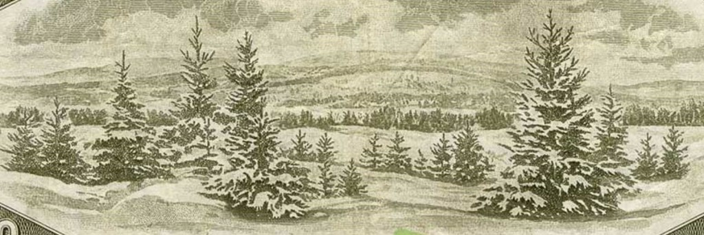 A wintry snow scene from a banknote